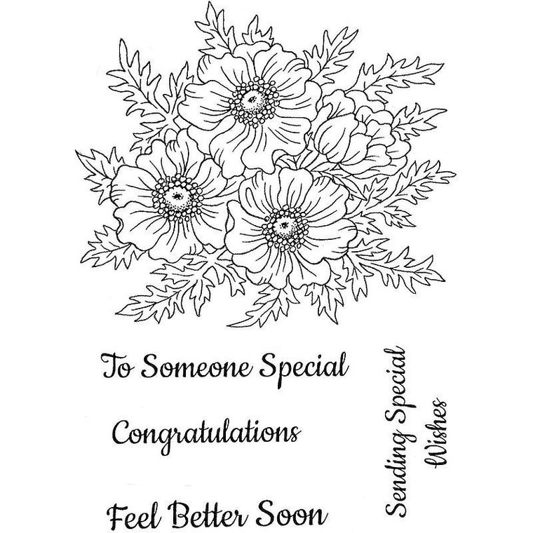 Sweet Dixie Stamp Set - Anemone - (SDCSA6295)  Stamps ideal for cardmaking and scrapbooking.