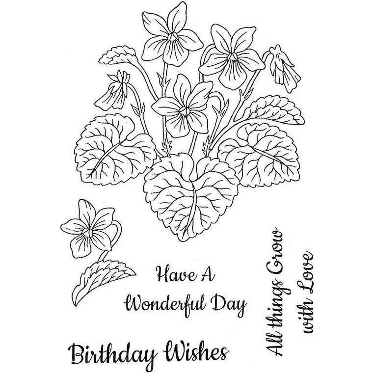 Sweet Dixie Stamp Set - Violets - (SDCSA6299)  Stamps ideal for cardmaking and scrapbooking.