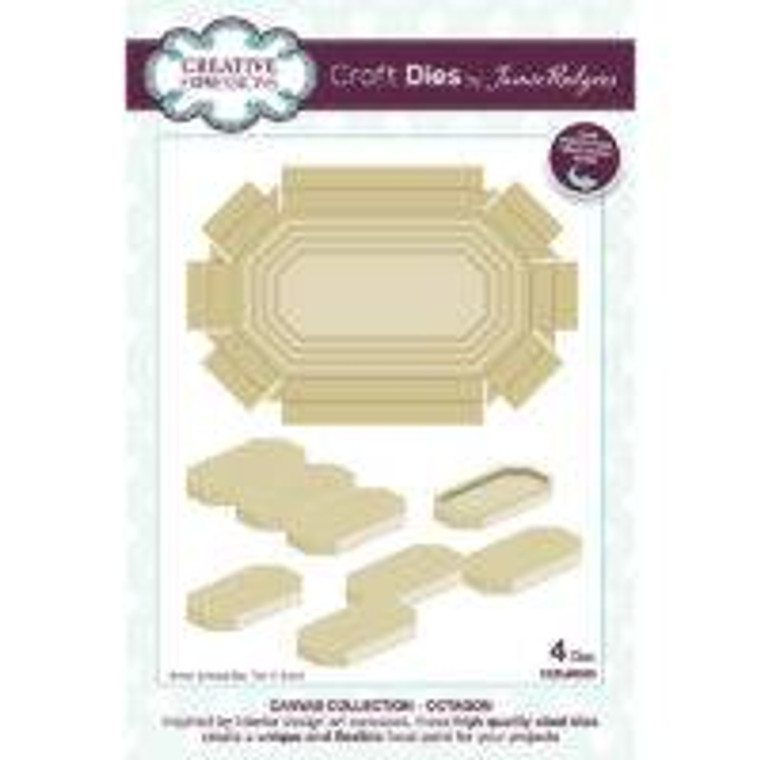 Creative Expressions Craft Dies by Jamie Rogers - Canvas Collection - Octagon (CEDJR005)  This octagonal set of dies has been designed to create a dimensional focal point for your projects. This fun eight-sided shape will be fun to use and pattern build with. Perfect for cards, scrapbooks, and home décor or a great many other of the page projects. Simply cut the shapes and decorate in your favourite way. You can use them to highlight other die cuts, or decorate with paints, powders, rice paper, stamps, stencils….the only limit is your imagination. Use only die cut set on a project or mix and match with other dies in the Collection. The dies can also be used to cut inserts, make shaker boxes, mini frames or so much more. Inside the packet you will find lots of project inspiration. The dies are compatible with most home die cutting machines. Made in China. In the packet you will find card projects to kickstart your creativity. Die size 7.8 x 11.8 cm. 4 die set.