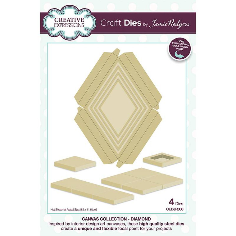 This diamond set of dies has been designed to create a dimensional focal point for your projects. This fun four-sided shape will be fun to use and pattern build with. Perfect for cards, scrapbooks, and home décor or a great many other of the page projects. Simply cut the shapes and decorate in your favourite way. You can use them to highlight other die cuts, or decorate with paints, powders, rice paper, stamps, stencils….the only limit is your imagination. Use only die cut set on a project or mix and match with other dies in the Collection. The dies can also be used to cut inserts, make shaker boxes, mini frames or so much more. Inside the packet you will find lots of project inspiration. The dies are compatible with most home die cutting machines. Made in China. In the packet you will find card projects to kickstart your creativity. Die size 8.5 x 11.6 cm. 4 die set.