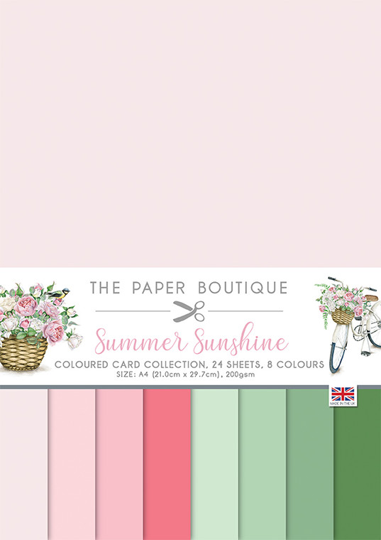 The Paper Boutique - Summer Sunshine - Colour Card Collection  A4 - (PB1574)  The Summer Sunshine collection contains a versatile selection of die-cut toppers, embellishments, inserts, coloured card, and backing papers perfect for creating a wide array of coordinating crafts. Featuring beautiful florals and more with a very nostalgic feel– in a colour palette of pinks. The pads are designed to be used on their own or mixed and matched. The kit contains an 8 x 8-inch pad of 36 sheets of decorative papers 6 each of 6 designs in 160 gsm and a topper pad, the die cut toppers are a mix of round and square and are printed on 300 gsm smooth paper 32 toppers in eight designs. The range of papers are a mix of A4 and 8 x 8 format and includes a Decorative Paper Pad, Embellishments Pads, the Essential Colour Card Collection and the Insert Collection. Made in UK.