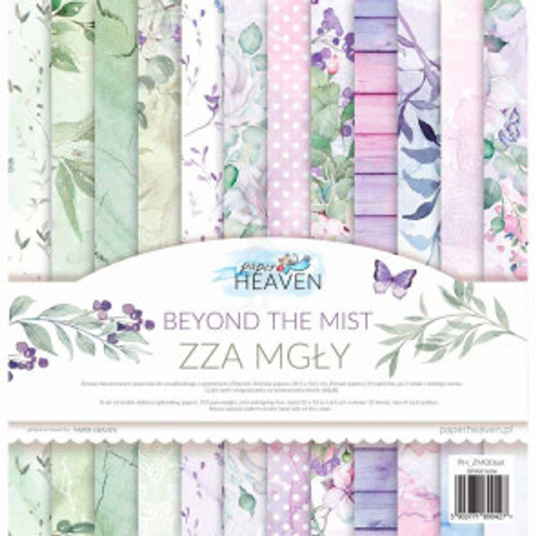 """Paper Heaven - 12"""" x 12"""" paper pad - Beyond the Mist (PH_ZM00SET)  A set of double sided scrapbooking papers.  Beyond the Mist Collection.  A beautiful collection of colours and patterns  The pack contains 12 sheets / 2 of each of 6 different designs and additional design on the back of the cover.  Size: 12"""" x 12"""" / 30.5cm x 30.5cm.  Gsm: 250.  ACID and LIGNIN FREE.   Bonus on the inside cover"""