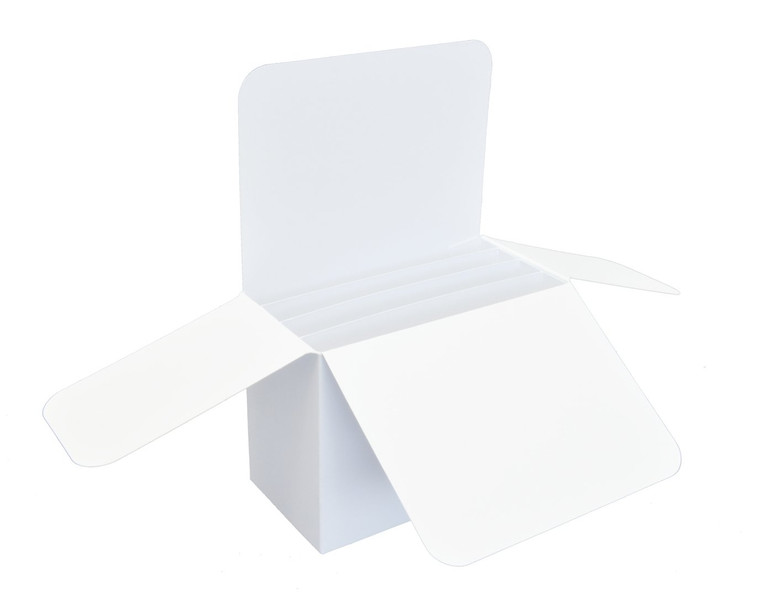 Pop Up Box - 300gsm -5x10x15cm - White - (ID-3525)     A Pop Up box with dimensions of 5x10x15cm. A cardboard box for 3D work with cut-out decoration. The box has creases forfolding, the front and side flaps are folded. Inside, three compartments for attaching embellishments. After unfolding, the elements attached to the spacers pop out of the box, creating a surprising effect.  The folded box fits boxes with dimensions of 16 x 16 x 2.5 cm     Product shipped disassembled, requires gluing.