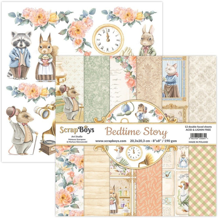 ScrapBoys - Bedtime Story 8 x 8 - (BEST-10)  BEDTIME STORY - A unique collection that hides many nice childhood memories. Full of cute animals and fairy-tale scenes. Bedtime Story is a collection in which each of you will find something for yourself and the subdued colors make this collection very universal for many occasions. Sizes : paper sheets ; paper pad: 20.3 x 20.3cm ( 8''x8'')   Grammar: 190 gsm