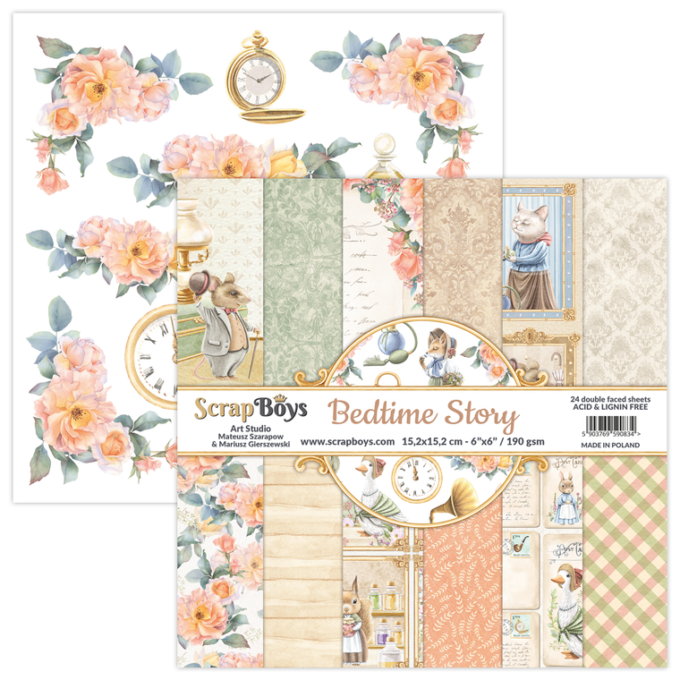 ScrapBoys - Bedtime Story 6 x 6 - (BEST-09)  BEDTIME STORY - A unique collection that hides many nice childhood memories. Full of cute animals and fairy-tale scenes. Bedtime Story is a collection in which each of you will find something for yourself and the subdued colors make this collection very universal for many occasions.  Sizes : paper sheets ; paper pad: 152 x 15.2cm ( 6''x6'')   Grammar: 190 gsm