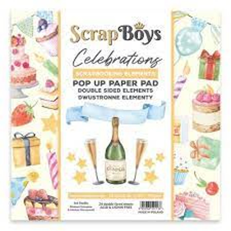 ScrapBoys - Celebrations  -  6 x 6 - Pop Up Pad (POPCE-01)  ScrapBoys papers for scrapbooking. 6 x 6 Pop Up Paper Pads (pads with cut-out elements) Beautiful elements in a celebrations style to cut out, there are 24 sheets printed on both sides. After cutting out, each element will be two-sided. Weight: 190 gsm. Acid and Lignin Free.