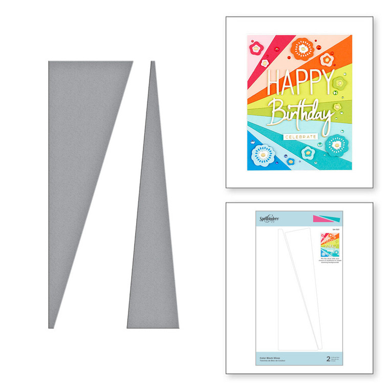 Spellbinders - Color Block Slices Etched Dies from Simply Perfect Collection (S4-1101)  Color Block Slices Etched Dies is part of the Simply Perfect Collection. This set of two thin metal dies creates an impactful background. Use your favorite color combination lay it out from the top, bottom, side or center, a super fun design! Simply Perfect Collection is just that! There are wonderful sentiments, alphabets, florals and more in a clean fresh style. It works with everything and its simplicity makes this ensemble perfectly timeless.