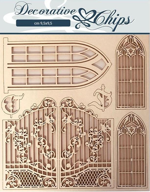 Stamperia Decorative Chips - Windows And Doors 14 x 14 cm - (SCB59)  Great as an addition to your cards and projects