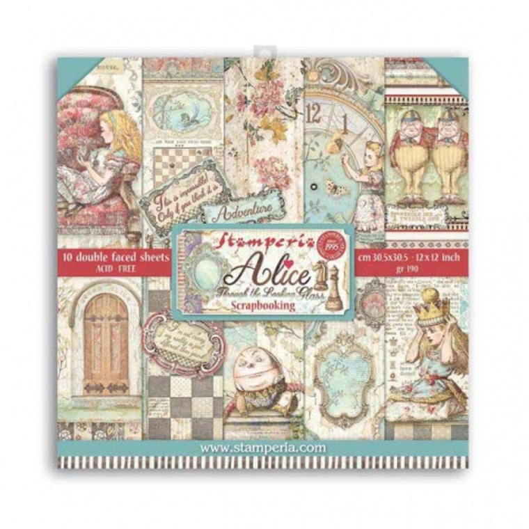 """Stamperia - Alice - 12""""x12"""" Paper Pad - (SBBL93)  Stamperia exclusive designs. Paper Pad with 10 double-sided patterned paper. Thickness: heavyweight paper 170 g/m² Size: 12 """"x 12"""" - 30,48 x 30,48 cm, Features: Acid & lignin free Made in Italy."""