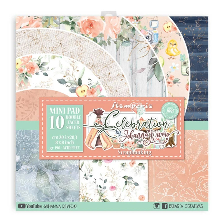 """Stamperia - Celebration - 8x8 Inch Paper Pack (SBBS37)  Stamperia exclusive designs. Paper Pad with 10 double-sided patterned paper. Thickness: heavyweight paper 190 g/m² Size: 8 """"x 8"""" - 20.3x20.3cm. Acid & lignin free. Made in Italy."""