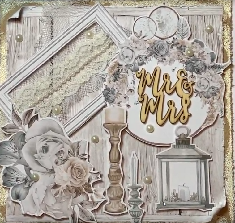 Create a beautiful wedding card with Mintay Precious Moments elements sheet