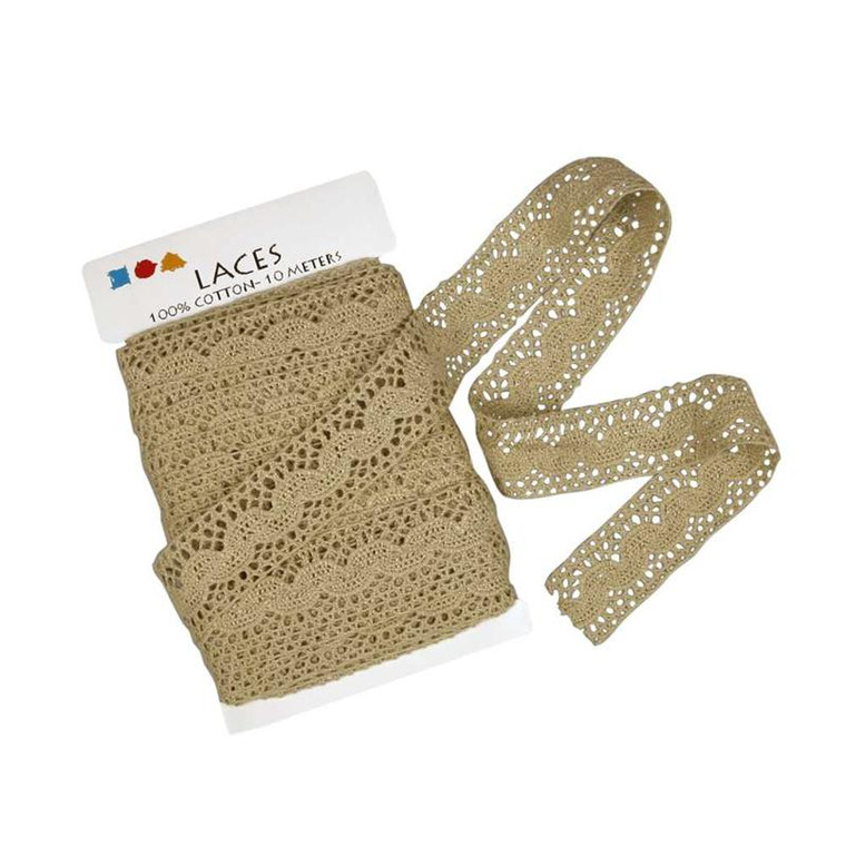 Crochet Lace Border, 30mm x 1m, Natural (41099)  Rustic look crocheted lace A beautiful addition to your craft project. Great for Vintage style.