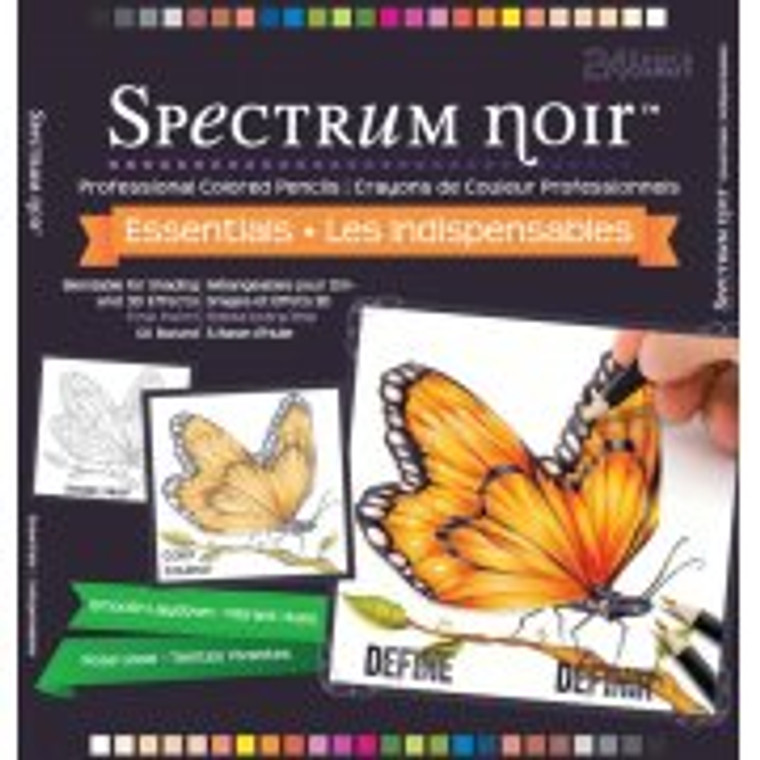 Crafters Companion Spectrum Noir Professional Colouring Pencils - Essentials 24pcs (SPECL-ESSEN) A unique formulation that allows for both intense and soft colour from the same pencil Works with Spectrum Noir markers to add an extra layer of dimension and make artwork pop All pencils are waterproof and work with the various accessories These wax-based, blendable pencils are perfect for colouring lovers everywhere! Used on their own or combined