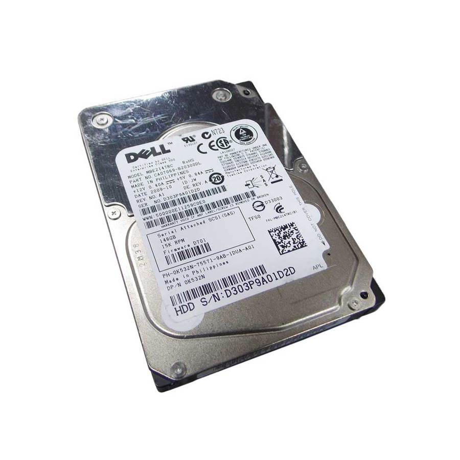 "Dell K532N Hard Drive 146GB 15K SAS 2.5"" Not in Tray"