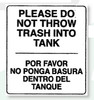 Restroom Decals | Do No Throw Trash Into Tank
