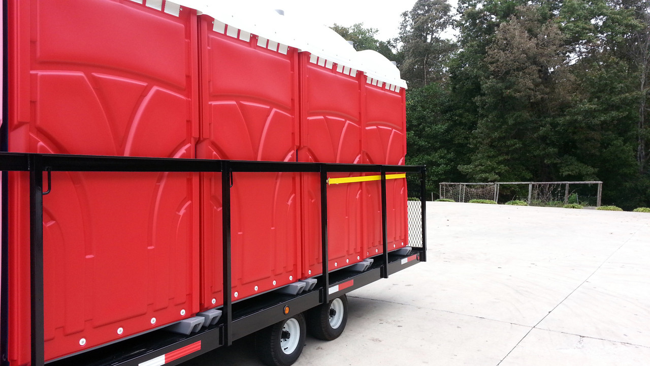Our 8-hauler restroom delivery trailer is manufactured using high-quality steel.  Comes with sides or no sides.