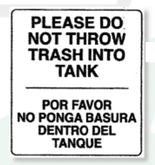 Restroom Decals | Do No Throw Trash Into Tank