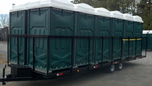 Our 12-hauler restroom delivery trailer is manufactured using high-quality steel.  Comes with sides or no sides.