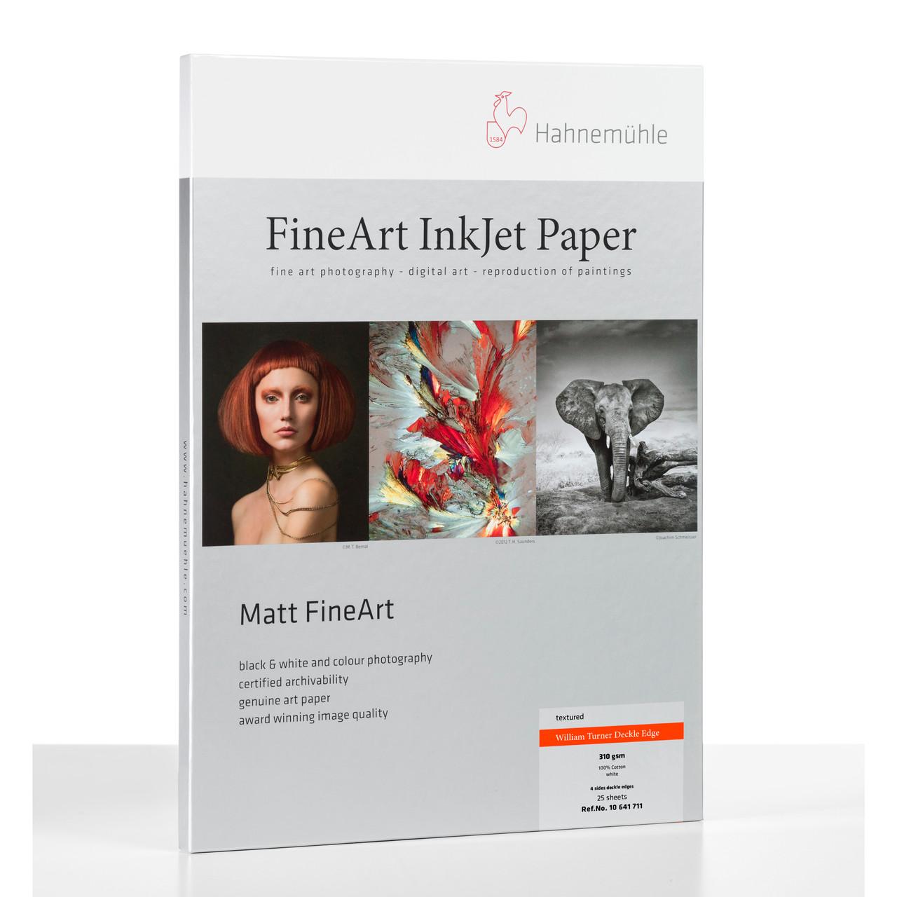 HAHNEMÜHLE WILLIAM TURNER MATT FINE ART PAPER - DECKLE EDGE (25 SHEETS)