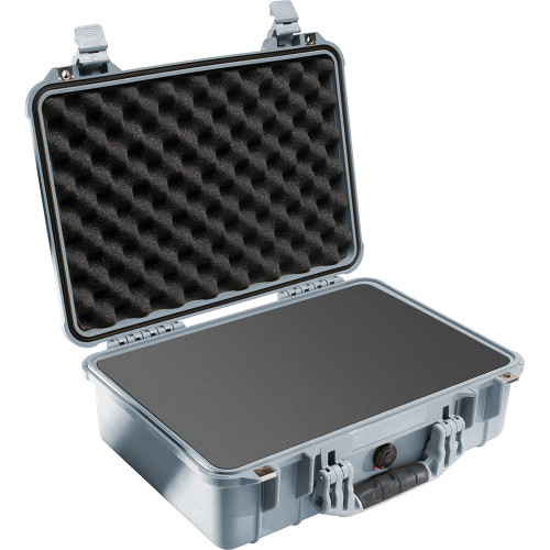 PELICAN 1500 PROTECTOR CASE WITH FOAM INSERT (SILVER)