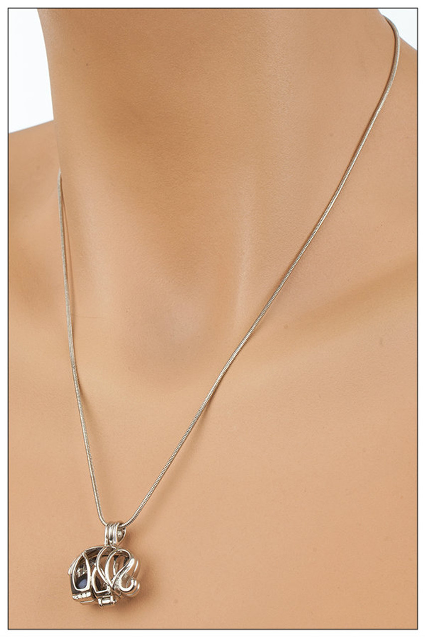 Big eared elephant inspired pearl cage necklace add an oyster option