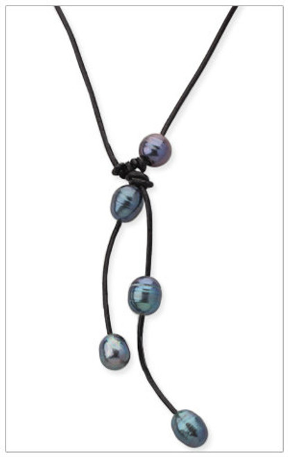 BLACK Freshwater Pearls Leather Necklace
