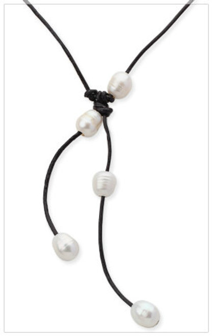WHITE Freshwater Pearls Leather Necklace