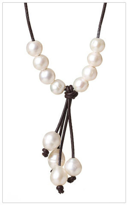 Elegant Y-shape WHITE Pearls Leather Necklace