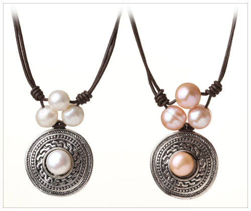 TAHITIAN SUN Pendant Three TOP Pearls Leather Necklace