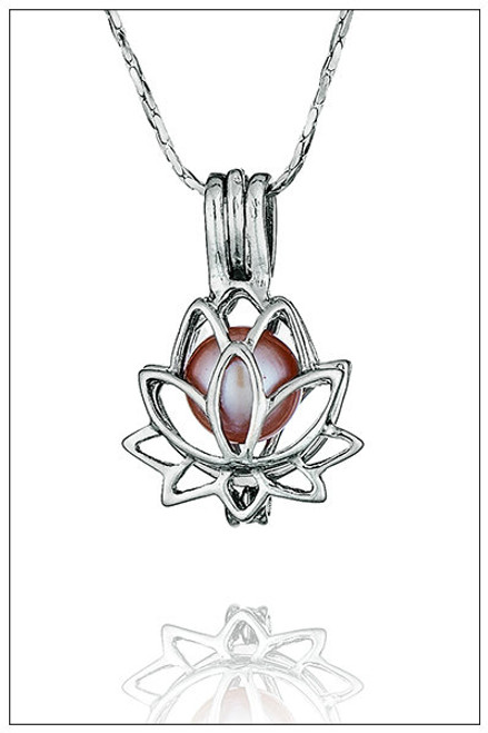 LOTUS pearl in cage necklace - ©PearlsIsland.com