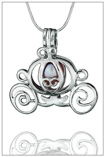 Cinderella Carriage Sterling Silver Pearl Cage - ©PearlsIsland
