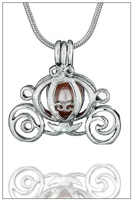 CINDERELLA CARRIAGE pearl in cage necklace - ©PearlsIsland.com