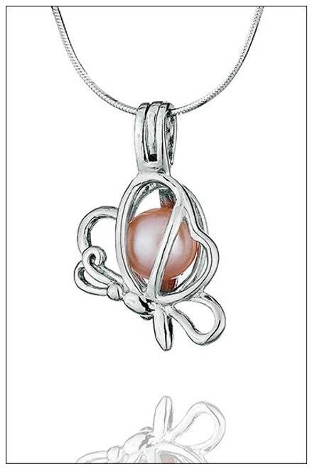 BUTTERFLY Sterling Silver Pearl Cage