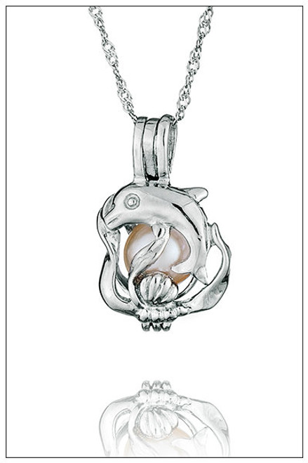 DOLPHIN & SEAWEED Silver Pearl Cage