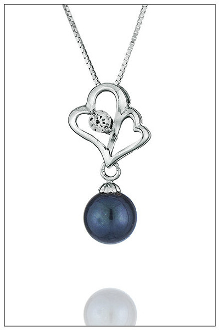 DOUBLE HEART Sterling Silver Pearl Pendant