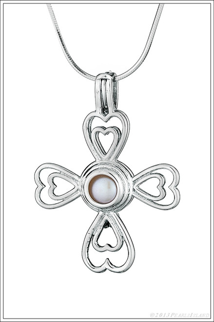 Cross of Hearts oyster with pearl necklace - ©PearlsIsland.com