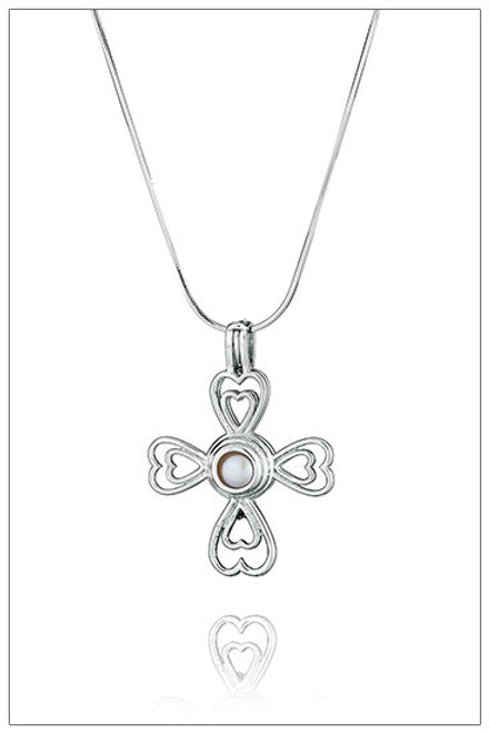 CROSS of HEARTS Silver Pearl Cage