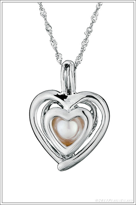Double Heart oyster with pearl necklace - ©PearlsIsland.com