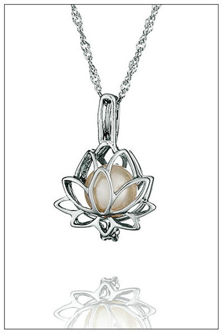Lotus pearl necklace cage - ©PearlsIsland.com