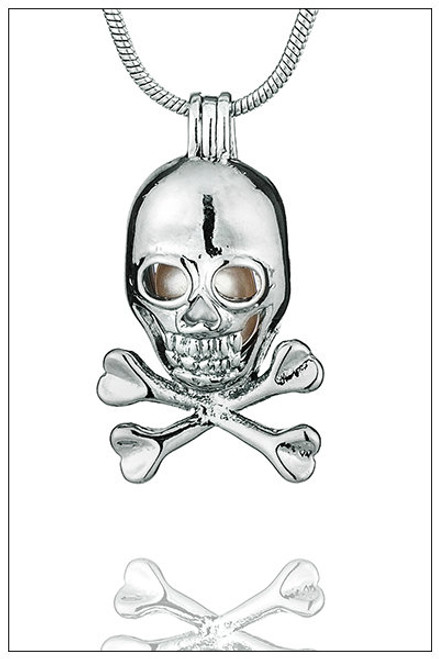 PIRATE SKULL pearl necklace cage - ©PearlsIsland.com