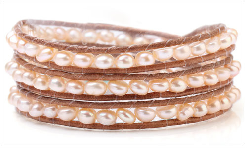5-6mm Pink Freshwater Pearl Hand-Knotted Brown Leather Wrap Bracelet