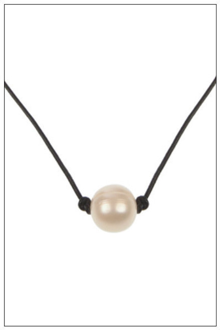 Single White ROUND Pearl Leather Choker Necklace