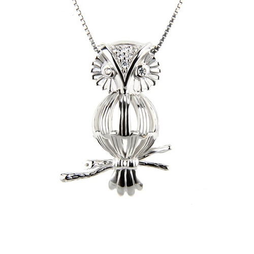 Owl pearl in cage necklace - ©PearlsIsland.com
