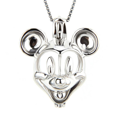 Pearl in Cage Necklace Mickey Mouse - ©PearlsIsland.com