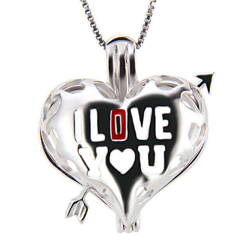 I Love You Pearl Cage Silver - ©PearlsIsland.com