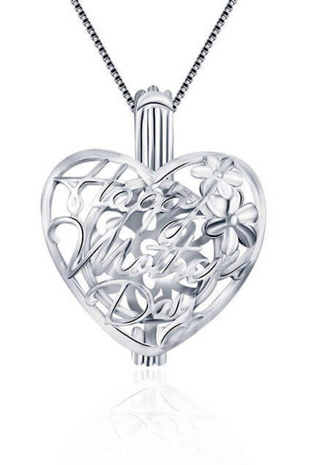 Mothers day pendant - Happy Mothers Day cage jewelry for pearls - ©PearlsIsland.com