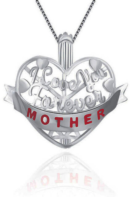 Necklaces for mothers - I Love You Forever Mother pearl mounting- ©PearlsIsland.com