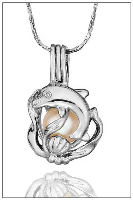 Pearl Holder Pendant DOLPHIN & SEAWEED - ©PearlsIsland.com