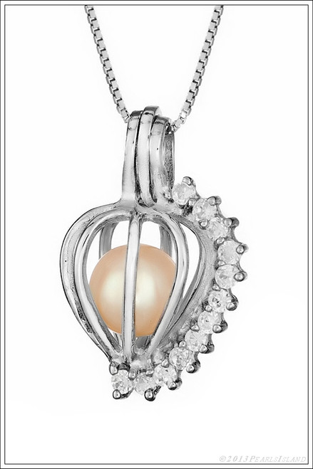 Diamonds Sterling Silver Pearl Cage - ©PearlsIsland