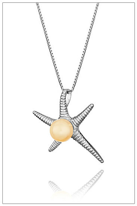 STARFISH Sterling Silver pearl pendant